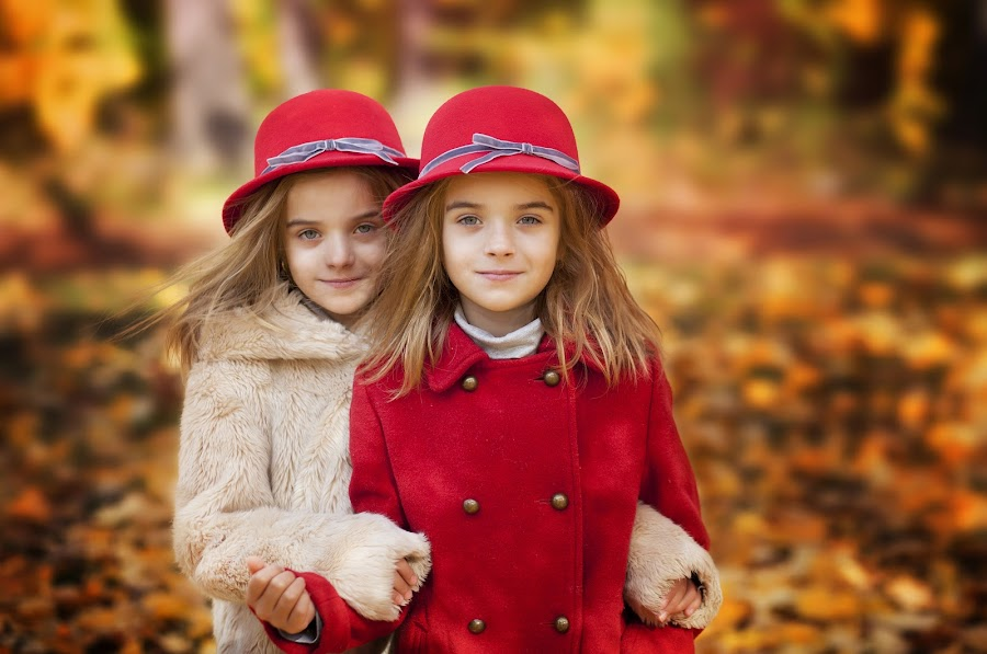 by Anna Anastasova - Uncategorized All Uncategorized ( girl child, girls, sisters, red, autumn, children )