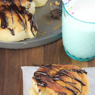 Peanut Butter Sweet Rolls with Chocolate Drizzle.