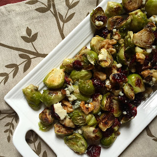 Roasted Brussels Sprouts with Blue Cheese, Walnuts and Cranberries