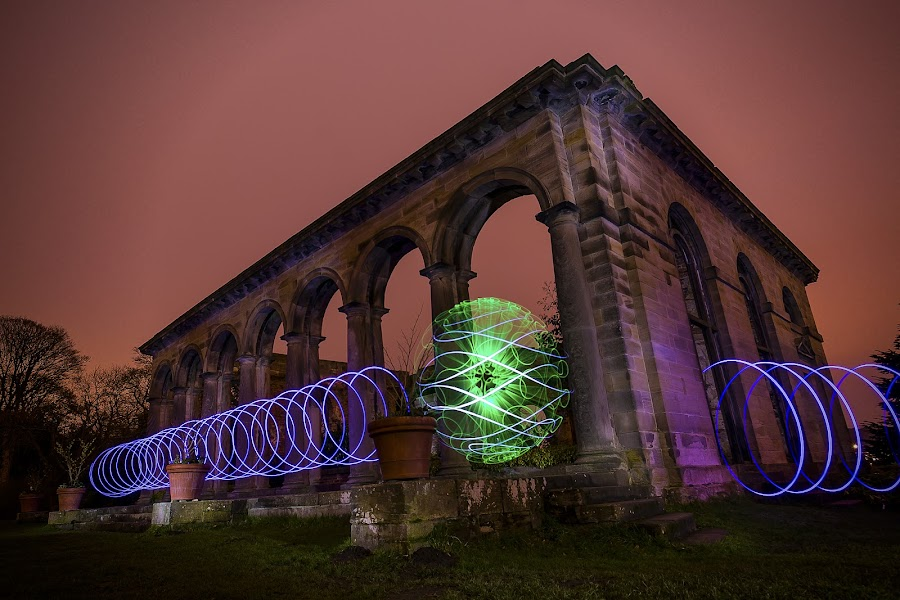 Lightpainting the Orangery by Lesley Hudspith - Abstract Light Painting ( orb, lightpainting, architecture, spiral, landscape,  )