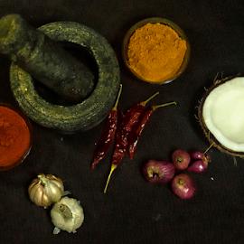 Southern Spice by Vin Shutterbug - Food & Drink Ingredients ( shallot, shallots garlic cocnut, coconut, chutney, south masala, chilli, galic, masala, turmeric )