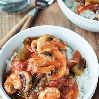 Vegan Mushroom Pepper Steak.