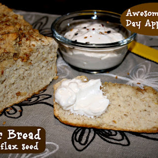 Beer Bread with flax seed and Creamy Garlic Dip