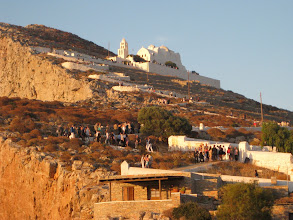 Photo: Here's the wedding procession, earlier that day. This is a common summer sight on Santorini.
