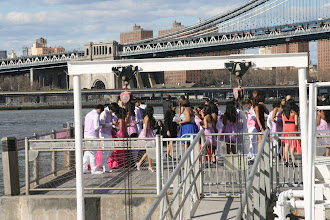 Photo: Some kind of formal party on a pier in the Brooklyn Bridge Park.