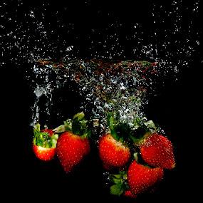 by WanUkay Perdana - Food & Drink Fruits & Vegetables ( malaysia, splash water photography, strawberry, lemon )