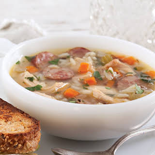 Chicken, Rice, and Sausage Soup.