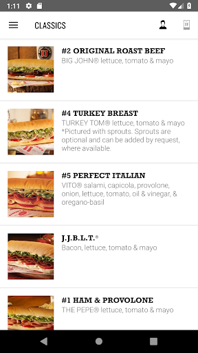 Screenshot for Jimmy John's Sandwiches in United States Play Store