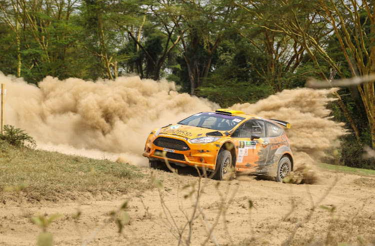 Karan Patel in a Ford Fiesta R5 during a past rally championship