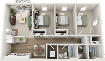 Go to Three Bed, Two Bath Classic Floorplan page.