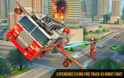 Flying Firefighter Truck Transform Robot Games 19 screenshots 2