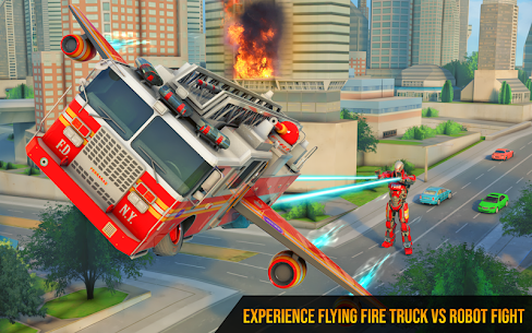 Flying Firefighter Truck Transform Robot Games 2