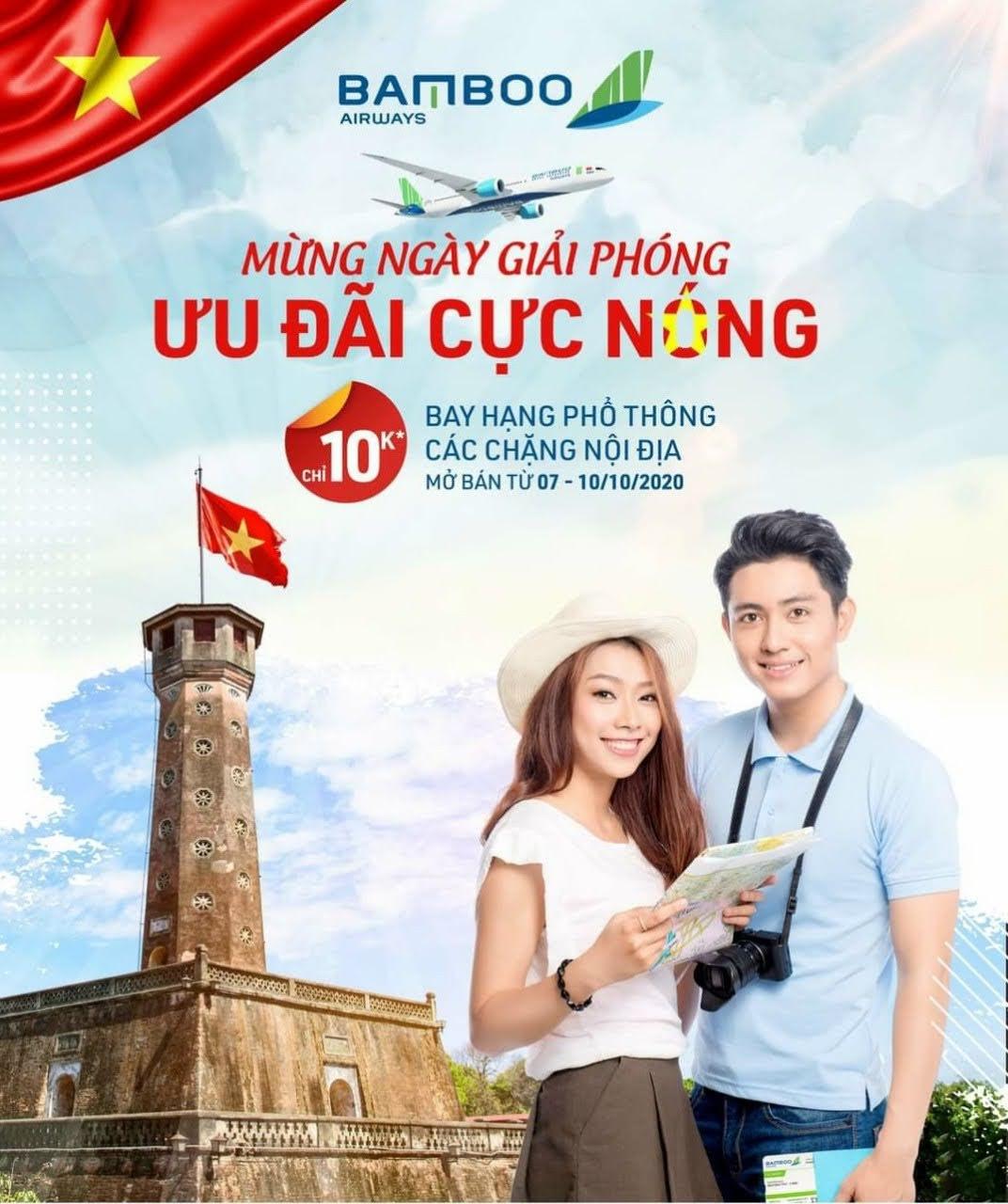 Đồng giá 10,000đ bay khắp Việt Nam Bamboo Airways khuyến mại