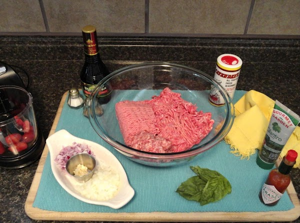 Grounded Lamb, beef, sausage - thawed place in a bowl( I used beer brats...