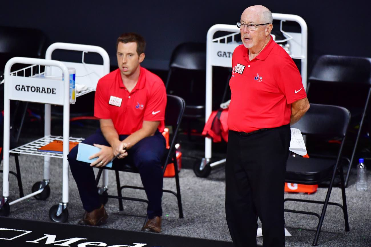PALMETTO, FLORIDA - SEPTEMBER 04: Head coach Mike Thibault (R) of the Washington Mystics looks on with assistant coach Eric Thibault during the first half of a game against the Chicago Sky at Feld Entertainment Center on September 04, 2020 in Palmetto, Florida. (Photo by Julio Aguilar/Getty Images)