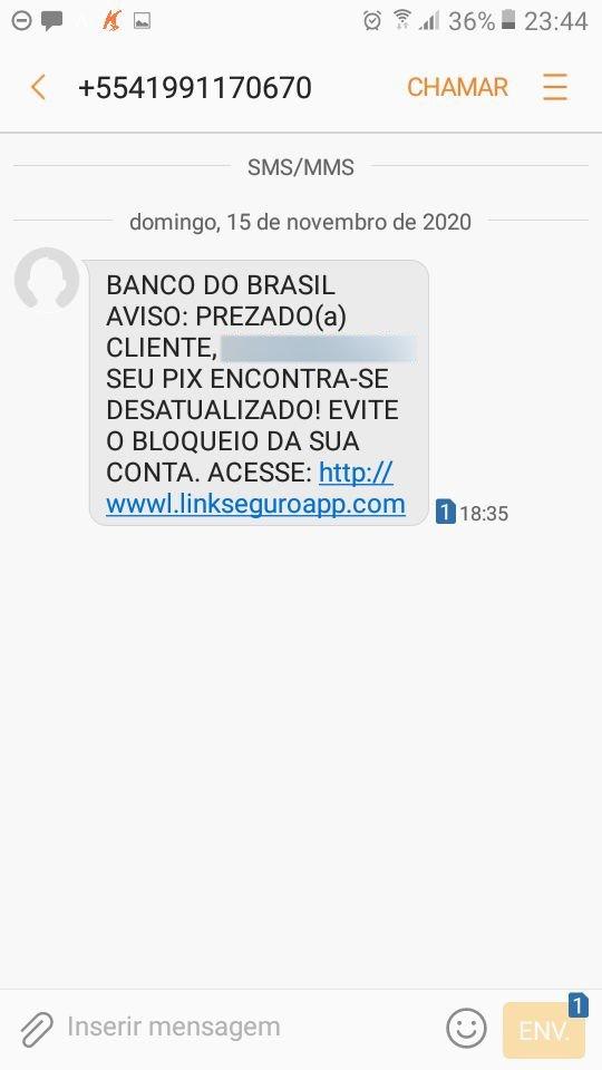 mensagem de SMS com link para um golpe