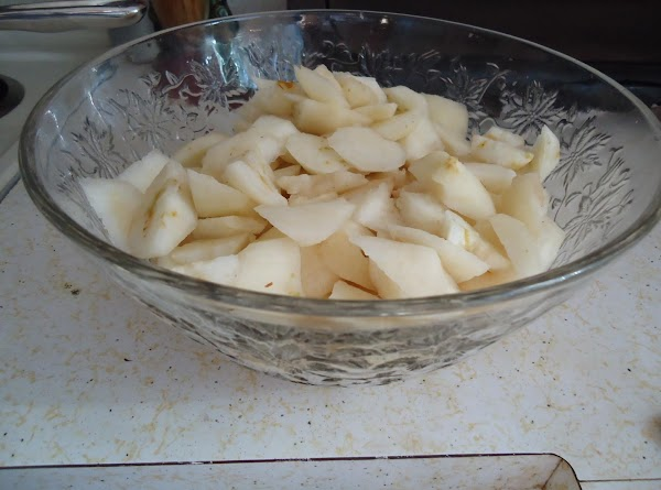 Peel and cut up a bunch of fresh pears.  Measure them out to...