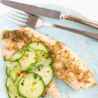 Roasted Za'atar Tilapia Recipe with Pickled Cucumbers