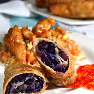 Red Cabbage Vegetable Eggrolls with Sweet Chili Sauce