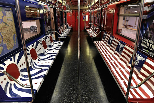 A New York subway carriage was wrapped in promotional material for Amazon's TV series 'The Man in the High Castle'. The artwork, which had a Nazi Iron Cross replacing the stars in the US flag and an Imperial Japanese-inspired design, was ditched at the request of mayor Bill de Blasio.