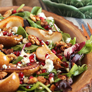 Bourbon Roasted Pear Salad with Gorgonzola and Candied Walnuts.
