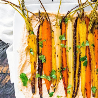 Roasted Carrots with Cumin Seed & Hummus.