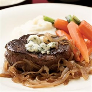 Seared Steaks with Caramelized Onions and Gorgonzola