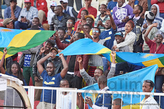 "Photo: Rwandan fans cheer as Coach McKinstry is announced as ""Coach of the Tournament"" [Rwanda vs Uganda, CECAFA 2015 Final, 5 Dec 2015 in Addis Ababa, Ethiopia.  Photo © Darren McKinstry 2015, www.XtraTimeSports.net]"