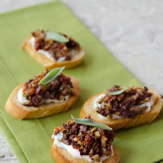 Whipped Sage Ricotta with Olive and Sundried Tomato Tapenade Crostini Recipe