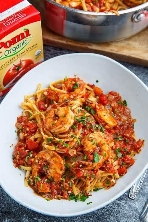 "Spicy Garlic Shrimp Pasta ""This quick and easy spicy garlic shrimp pasta..."