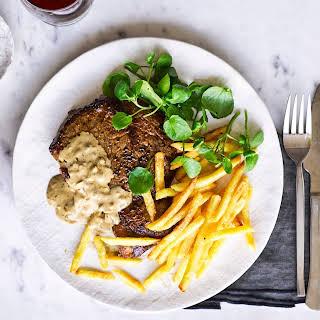 Steak With Creamy Peppercorn Sauce.