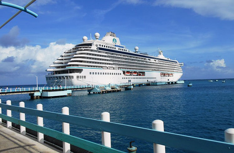 Crystal Serenity docked in Grand Turk in Turks and Caicos.