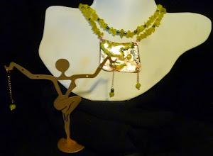 Photo: <BEREHYNYA> {Great Goddess Protectress} unique one-of-a-kind statement jewellery by Luba Bilash ART & ADORNMENT  #82 - RIO - РІО - copper enamel pendant, leopard skin jade, Korean jade, hematite, rose gold vermeil $145/set * Available at Oseredok Boutique, Winnipeg SOLD/ПРОДАНИЙ