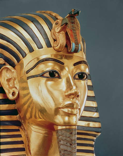 Image of The funerary mask of Tutankhamun (c.1370-1352 BC) New Kingdom, c.1336-1327 BC (gold inlaid with semi-precious stones), Egyptian 18th Dynasty (c.1567-1320 BC) / Egyptian, Egyptian National Museum, Cairo, Egypt, Photo © Boltin Picture Library / Bridgeman Images