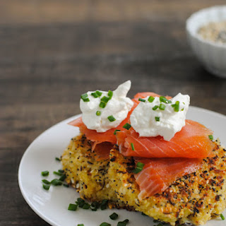 Everything Bagel Quinoa Cakes with Smoked Salmon & Crème Fraîche.