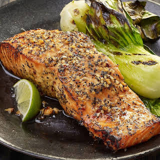 Grilled Salmon with Peppered Soy Glaze.