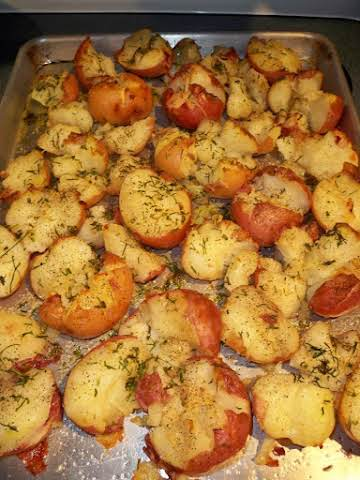 Smashed  Roasted Herb Potatoes-Annette's