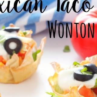 Mexican Taco Dip Wonton Cups