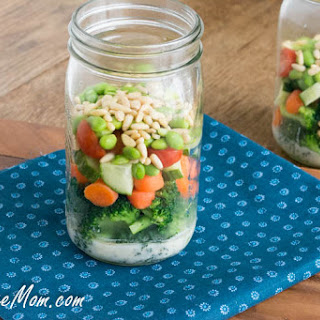 Mason Jar Broccoli Salad with Honey Yogurt Dressing