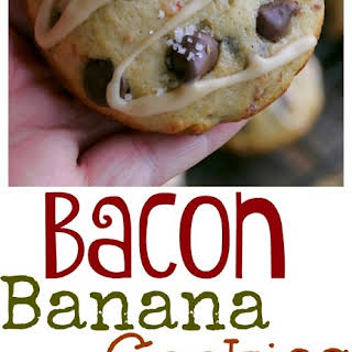 Bacon Banana Chocolate Chip Cookies with Peanut Butter Glaze.