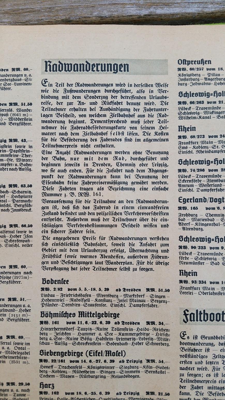 """Die Deutsche Arbeitsfront - Urlaubsfahrten 1939 - NS-Gemeinschaft """"Kraft durch Freude"""" Gau Sachsen - Katalog - Radwanderungen"""