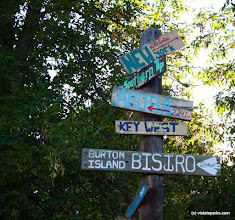 Photo: Funny signs at Burton Island State Park with directions to states by Tara Schatz