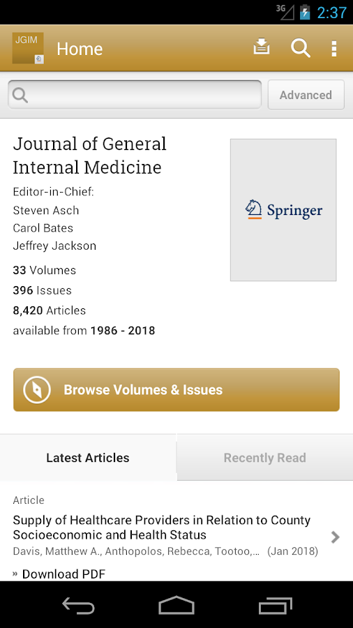 Journal of General Internal Medicine- screenshot