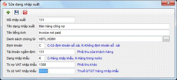 Danh mục dạng nhập xuất phần mềm kế toán 3tsoft