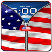 US Flag Zipper Lock Free APK for Bluestacks