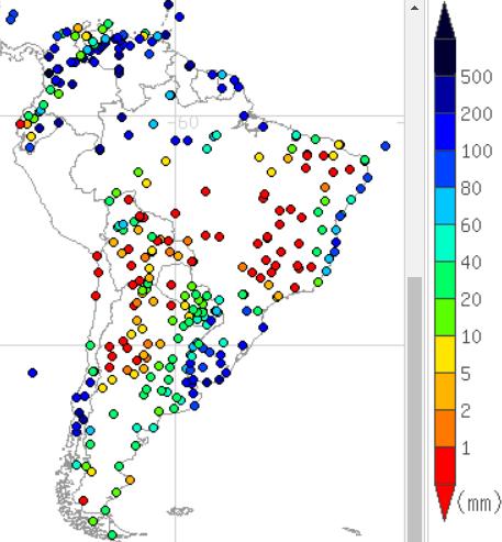 2016年7月の南米の降水量