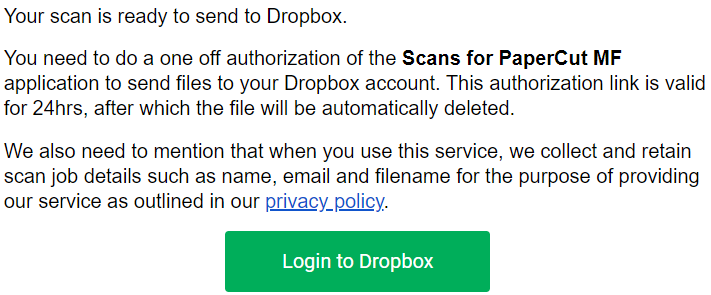 Example email with the green Login to Dropbox button