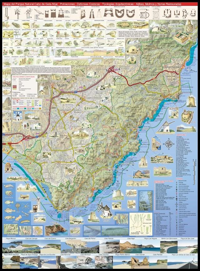 Mapa realizado por Juan Núñez del Parque Natural Cabo de Gata-Nïjar.