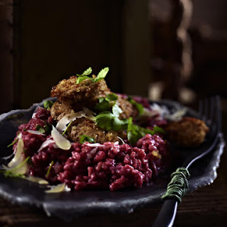 Beet Risotto With Breaded Mushrooms