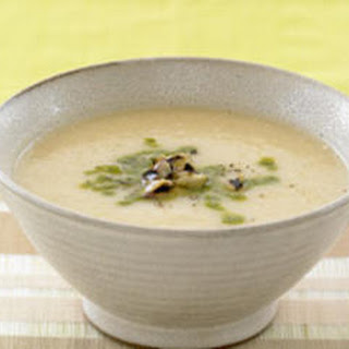 Roasted Elephant Garlic Soup with Grilled Eggplant